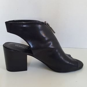 Kenneth Cole Black Leather Peep Toe Zip Ankle Boot